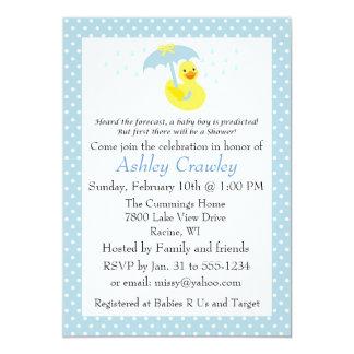La ducha Ducky de goma del bebé invita - a Invitación 12,7 X 17,8 Cm