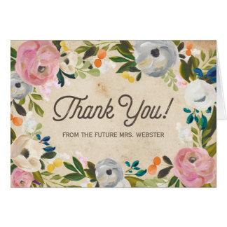 La ducha el | nupcial floral del vintage le tarjeta pequeña