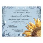 La ducha floral azul elegante del boda invita comunicado personalizado