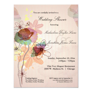 """La ducha floral del boda de la acuarela invita invitación 4.25"""" x 5.5"""""""