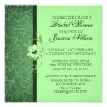 La ducha floral del damasco verde de lujo invita