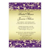 """La ducha floral púrpura de los remolinos del oro invitación 5"""" x 7"""""""