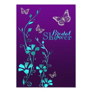 "La ducha invita al trullo púrpura del |, floral, invitación 5"" x 7"""