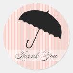 La ducha le agradece pegatina rosado del paraguas