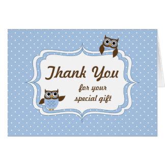 La ducha linda del bebé de los búhos le agradece c tarjeta de felicitación