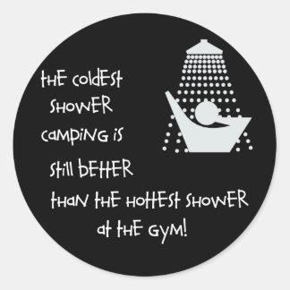 La ducha más fría etiqueta redonda
