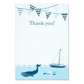 """La ducha náutica azul del bebé del velero le invitación 3.5"""" x 5"""""""