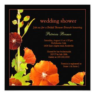 """La ducha negra del boda de los Hollyhocks rojos Invitación 5.25"""" X 5.25"""""""