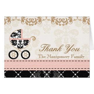 La ducha negra rosada del carro de bebé del tarjeta pequeña