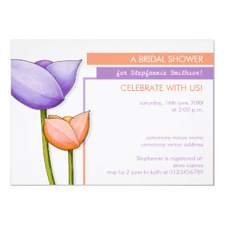 La ducha nupcial anaranjada púrpura de las flores invitación 12,7 x 17,8 cm