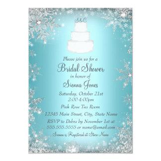 """La ducha nupcial azul del pastel de bodas del invitación 5"""" x 7"""""""