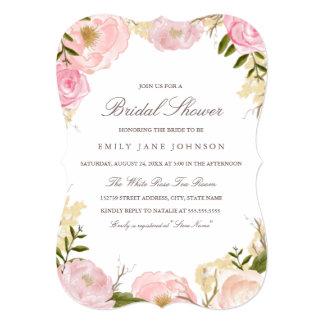 """La ducha nupcial color de rosa rosada elegante invitación 5"""" x 7"""""""