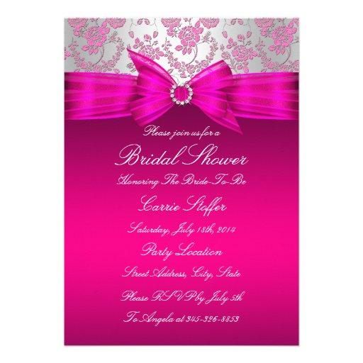 La ducha nupcial color de rosa rosada y de plata i invitación
