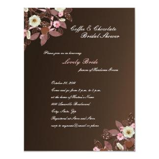 """La ducha nupcial de Brown del rosa del chocolate Invitación 4.25"""" X 5.5"""""""