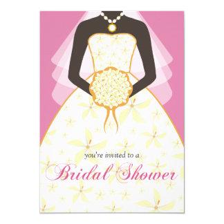 La ducha nupcial de encargo del vestido de boda invitación 12,7 x 17,8 cm