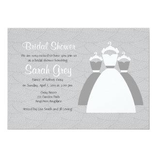 """La ducha nupcial de encargo gris invita invitación 5"""" x 7"""""""