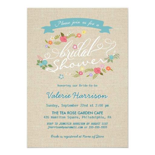 La ducha nupcial de la arpillera floral rústica de anuncios personalizados