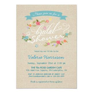 """La ducha nupcial de la arpillera floral rústica de invitación 4.5"""" x 6.25"""""""