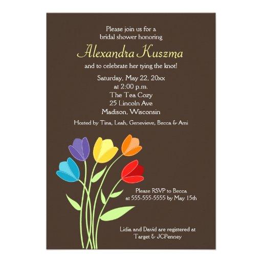 La ducha nupcial de la flor 5x7 del tulipán invita anuncio personalizado