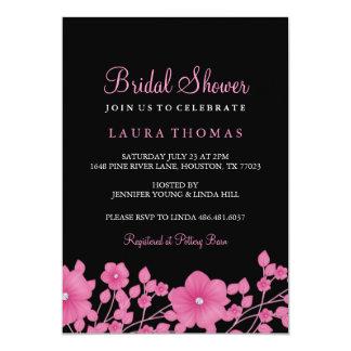 """La ducha nupcial de la flor del diamante rosado y invitación 5"""" x 7"""""""
