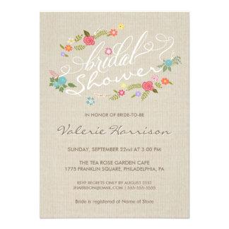 La ducha nupcial de la guirnalda floral de lino de comunicado personal