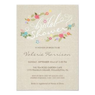 """La ducha nupcial de la guirnalda floral de lino invitación 4.5"""" x 6.25"""""""