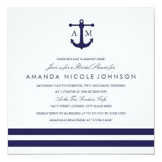 """La ducha nupcial de la marina de guerra náutica invitación 5.25"""" x 5.25"""""""