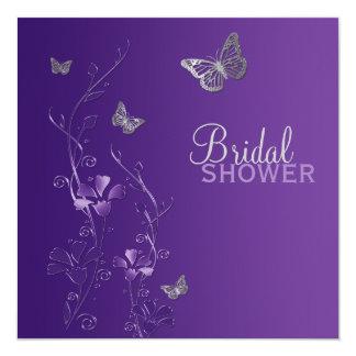 """La ducha nupcial de la mariposa floral gris invitación 5.25"""" x 5.25"""""""