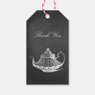 La ducha nupcial de la pizarra de la fiesta del té etiquetas para regalos