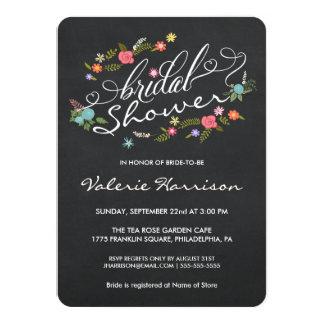 La ducha nupcial de la pizarra floral de la invitación 11,4 x 15,8 cm