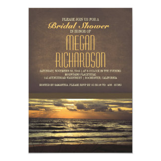 La ducha nupcial de la playa moderna de la puesta invitación 12,7 x 17,8 cm