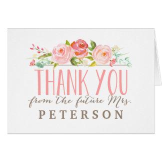 La ducha nupcial de la rosaleda el | le agradece tarjeta de felicitación