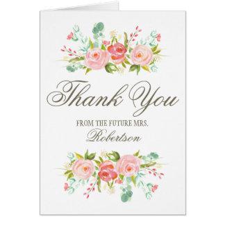 La ducha nupcial de la rosaleda el | le agradece tarjeta pequeña