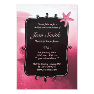 La ducha nupcial de las estrellas de mar rosadas invitación 12,7 x 17,8 cm