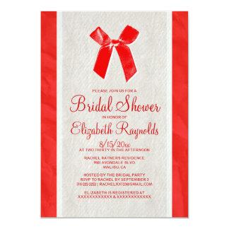 """La ducha nupcial de lino del arco blanco rojo del invitación 5"""" x 7"""""""