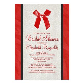 """La ducha nupcial de lino del arco negro rojo del invitación 5"""" x 7"""""""