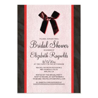 """La ducha nupcial de lino del arco rojo negro del invitación 5"""" x 7"""""""