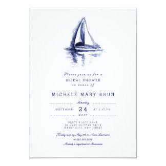 """La ducha nupcial de los azules marinos del barco invitación 5"""" x 7"""""""