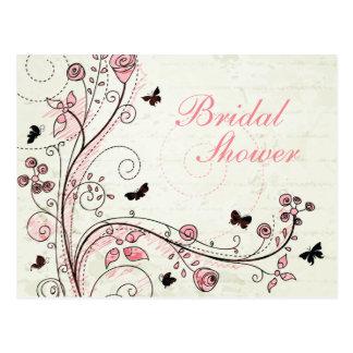 La ducha nupcial de los remolinos florales elegant postal