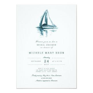 """La ducha nupcial del barco de navegación de la invitación 5"""" x 7"""""""