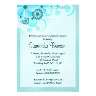 La ducha nupcial del boda floral azul del hibisco invitación 12,7 x 17,8 cm