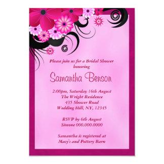 """La ducha nupcial del boda floral fucsia ligero invitación 5"""" x 7"""""""