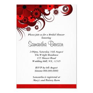 """La ducha nupcial del boda floral rojo y blanco invitación 5"""" x 7"""""""