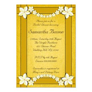 """La ducha nupcial del boda floral rústico del oro invitación 5"""" x 7"""""""
