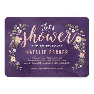 """La ducha nupcial del color Editable floral de la Invitación 5"""" X 7"""""""