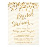 La ducha nupcial del confeti del oro que brilla in invitacion personalizada