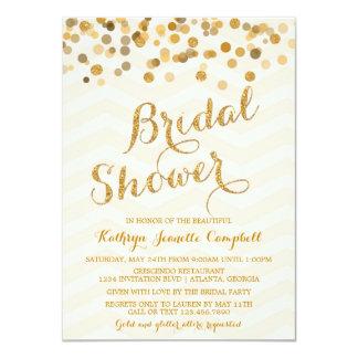 La ducha nupcial del confeti del oro que brilla invitación 11,4 x 15,8 cm