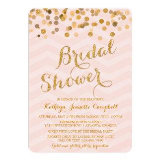 La ducha nupcial del confeti del oro que brilla anuncios personalizados