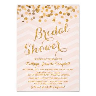 """La ducha nupcial del confeti del oro que brilla invitación 4.5"""" x 6.25"""""""