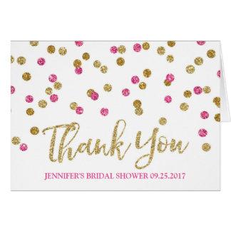 La ducha nupcial del confeti rosado fucsia del oro tarjeta de felicitación